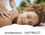 closeup of relaxed young woman... | Shutterstock . vector #145798127