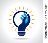 reach idea with human hand | Shutterstock .eps vector #145799489