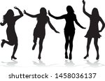 dancing people silhouettes.... | Shutterstock .eps vector #1458036137