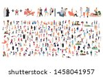 crowd of flat illustrated... | Shutterstock .eps vector #1458041957