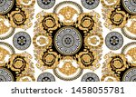 seamless vector golden baroque... | Shutterstock .eps vector #1458055781