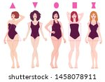 female body shape types   pear  ... | Shutterstock .eps vector #1458078911