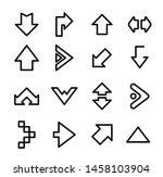 set of black line arrow icons | Shutterstock .eps vector #1458103904