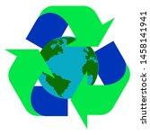 green arrow recycle logo move... | Shutterstock .eps vector #1458141941