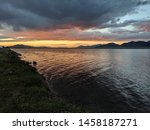 Sunset Fishing at Eleven Mile Reservoir Colorado - stock photo