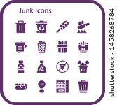 junk icon set. 16 filled junk icons.  Collection Of - Trash, Hot dog, Fry, Sandwich, Trash can, French fries, Fries, Mustard, Garbage, No fast food, Fried chicken, Vending machine