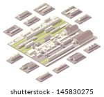 Isometric railroad yard  - stock vector