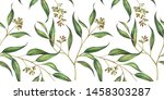 seamless floral pattern with... | Shutterstock . vector #1458303287