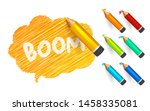 banner paint with pencils. hand ... | Shutterstock .eps vector #1458335081