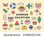 summer holiday icons. cute face ... | Shutterstock .eps vector #1458431144