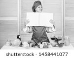 amateur cook read book recipes. ... | Shutterstock . vector #1458441077