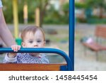 sad little child is sitting on... | Shutterstock . vector #1458445454