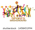 colorful sports background.... | Shutterstock .eps vector #1458451994