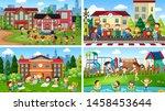 set of scenes in nature setting ... | Shutterstock .eps vector #1458453644