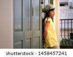 asian child girl wearing yellow ... | Shutterstock . vector #1458457241