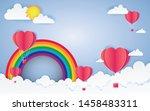 card valentine's day balloon... | Shutterstock .eps vector #1458483311