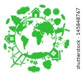 green ecology icons over planet | Shutterstock .eps vector #145848767