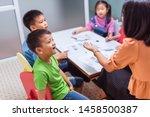 asian elementary school... | Shutterstock . vector #1458500387