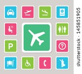 airport icons set for use  | Shutterstock .eps vector #145851905