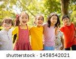 multi ethnic group of school... | Shutterstock . vector #1458542021