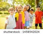 multi ethnic group of school... | Shutterstock . vector #1458542024