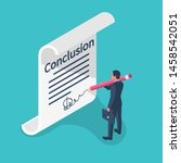 businessman writes conclusion ... | Shutterstock .eps vector #1458542051