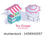 ice cream cart with awning.... | Shutterstock .eps vector #1458542057
