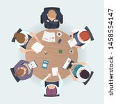 round table top view. business... | Shutterstock .eps vector #1458554147