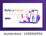 refer a friend. people shout on ...