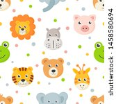 Stock vector seamless pattern cute animal faces icon set for kids isolated on white background vector 1458580694