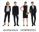 vector of young businessman and ... | Shutterstock .eps vector #1458582521