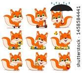 set of funny squirrel in... | Shutterstock .eps vector #1458584441
