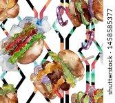 hamburger fast food isolated.... | Shutterstock . vector #1458585377