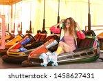 happy girl with retro roller...   Shutterstock . vector #1458627431