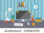 flat design stylish vector... | Shutterstock .eps vector #145863194