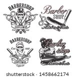 set of illustrations in vintage ... | Shutterstock .eps vector #1458662174
