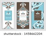 brown and blue vintage... | Shutterstock .eps vector #1458662204