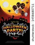 happy halloween festive... | Shutterstock .eps vector #1458680711
