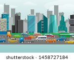 city traffic street vector... | Shutterstock .eps vector #1458727184