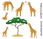 vector set of cute cartoon... | Shutterstock .eps vector #1458727364