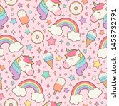 cute pastel unicorn  rainbow... | Shutterstock .eps vector #1458732791