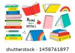 read more books. set for book... | Shutterstock .eps vector #1458761897