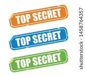 folded top secret sticker labels | Shutterstock .eps vector #1458764357