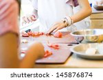 kinds in cooking class making... | Shutterstock . vector #145876874