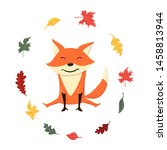 cute and funny fox in the... | Shutterstock .eps vector #1458813944