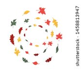 autumn leaves set  isolated on... | Shutterstock .eps vector #1458813947