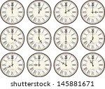 vintage clocks isolated on... | Shutterstock .eps vector #145881671
