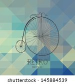 retro bicycle over geometric... | Shutterstock . vector #145884539