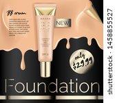 realistic foundation makeup ... | Shutterstock .eps vector #1458855527