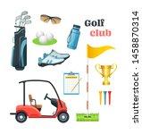 Golf Equipment Set Logo Icons...